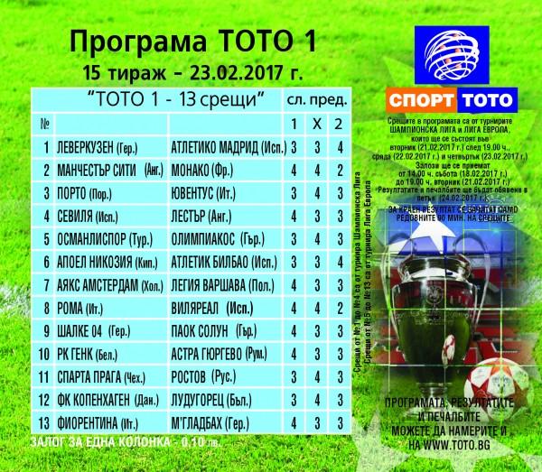 Футболни срещи от Шампионска лига и Лига Европа в тираж №15 на Тото 1