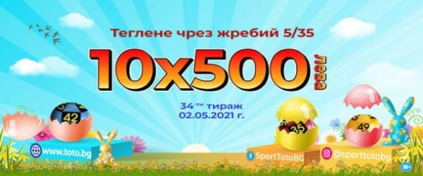 Десет печалби по 500 лева спечелиха участници на Великден в тираж 34 на Спорт тото
